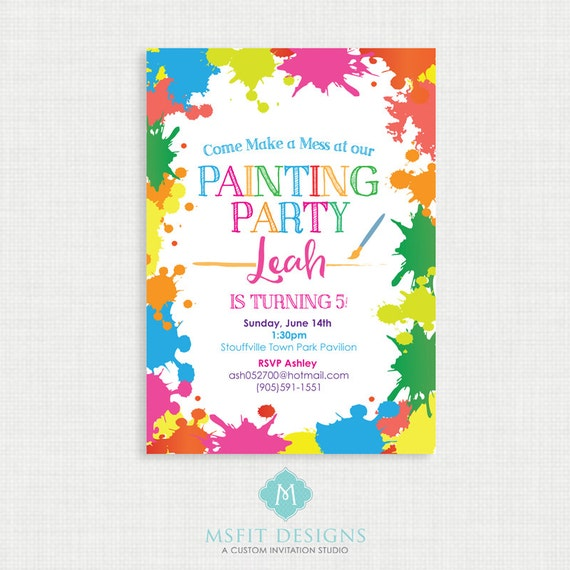 Paint Party Birthday Invitation- Painting Birthday Printable,  Birthday Party Invitations, DIY,  Printable Template, Birthday