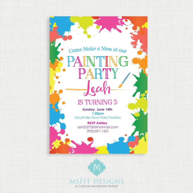 It is a graphic of Divine Free Printable Paint Party Invitations