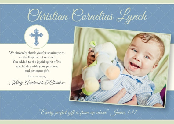 Printable Baptism Thank You Card -  Printable thank you card - Unisex Baptism/Blessing/Christening, Blue and Green