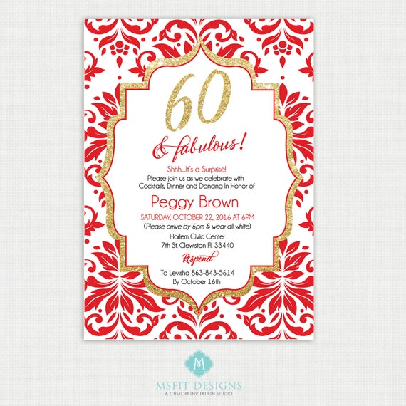 Printable Birthday Invitation- 60th birthday invitation- Party invite. Adult Surprise Birthday. Elegant. Printable digital DIY