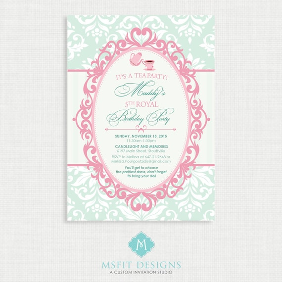 Printable Wedding Shower Invitation- Bridal Shower Tea Party - VIntage Invitation - Printable bridal tea invitation
