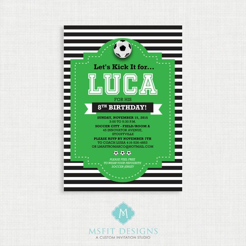 Printable Birthday Invitation Soccer