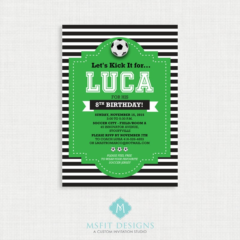 Printable Birthday Invitation Soccer Party Invitations DIY Template Digital