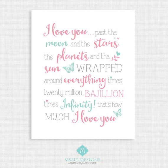 Nursery Wall Decor - Wall Art- I Love You to Infinity - Nursery Art - Wall Decor  - Instant Digital Download