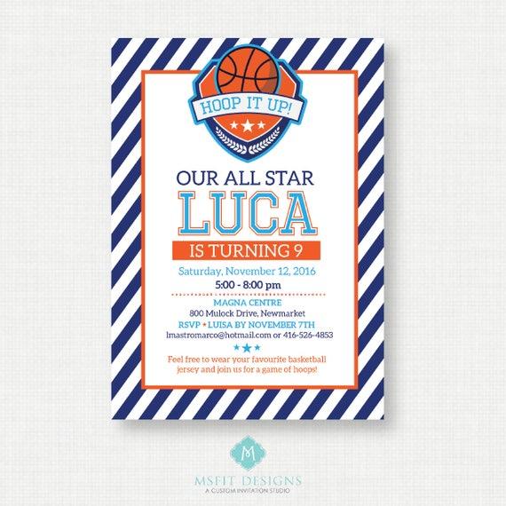 Printable Birthday Invitation- Basketball Birthday Invitation, Basketball Birthday Party Invitations,  Printable Template, Digital