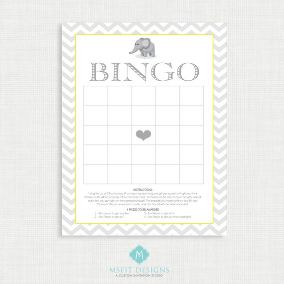 Printable Baby Shower Bingo -Baby Shower Games - Bingo - Shower Games - Instant Download