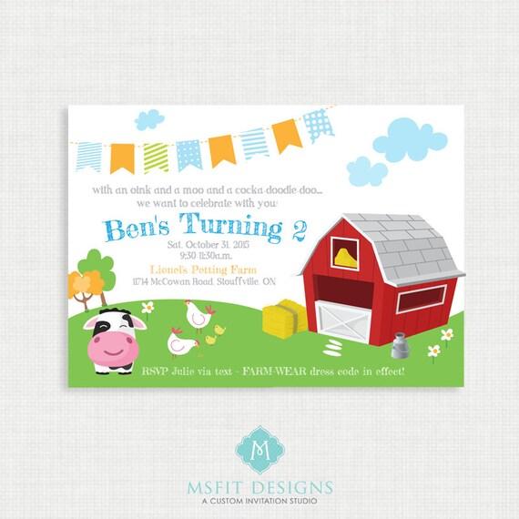 Printable Birthday Invitation Farm Animals Party Invitations DIY Template
