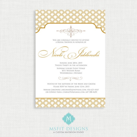 Art Deco Bridal Shower Invitation Template, Printable Bridal Shower Invitation