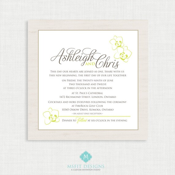 Printable Wedding Invitation with RSVP- 5x5 Orchid Printable Wedding invitation- Rustic Invitation Digital File - 5x5 Colours Customisable