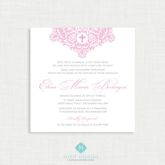 Printable Baptism Invitation- Girl Baptism Invitation - Baby Dedication, First Communion, Confirmation, Christening - Printable invitation