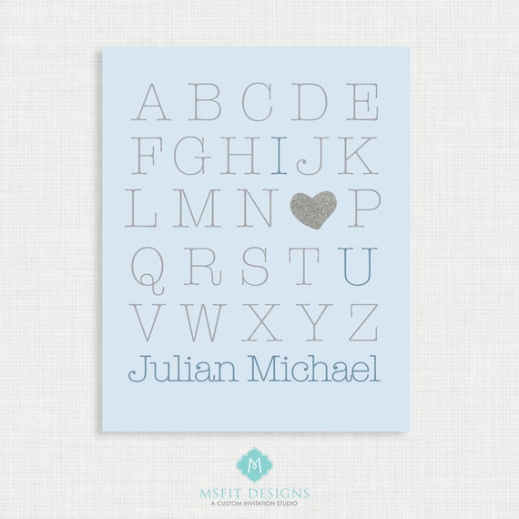 Nursery Wall Decor - Alphabet Poster - Nursery Art Print - I Love You Print - 8x10- Kids Nursery Wall Art