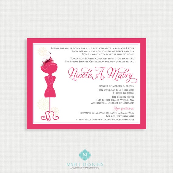 Printable Wedding Shower Invitation - Hats and Fascinators bridal shower invitation - DIY printable file