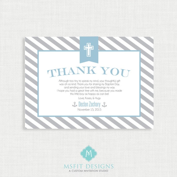 Printable Baptism Thank You Card - Nautical DIY Printable Thank you - Christening, First Communion, Dedication, Baby Blessing