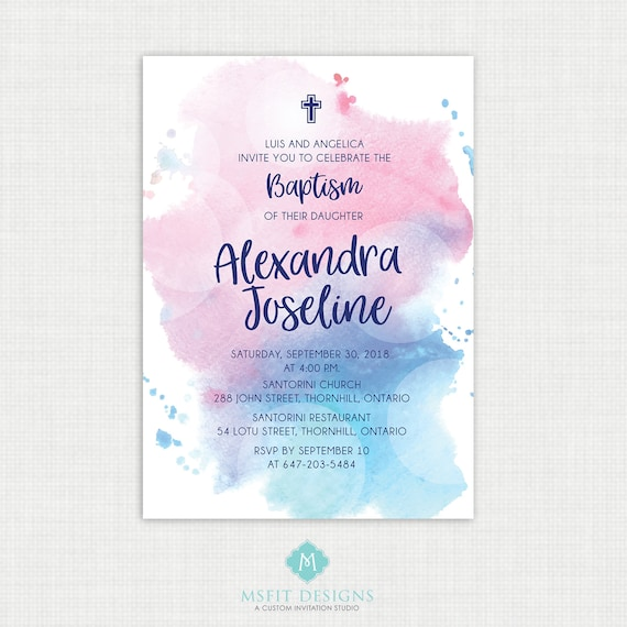 Printable Baptism Invitation- Watercolor - Girl Baptism Invitation - Baby Dedication, First Communion, Confirmation, Christening