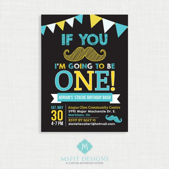Mustache Birthday Invitation- Moustache Bash Birthday Invitation, Boy Birthday Party Invitations, Moustache, DIY,  Printable Template