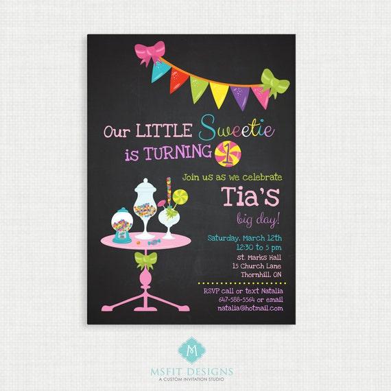 Printable Birthday Invitation- Candy Land Invitation, Candy Birthday Party Invitations, DIY,  Printable Template, Chalkboard