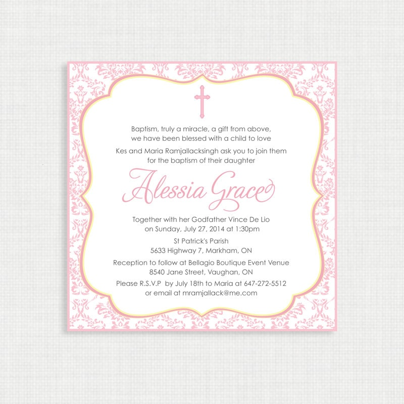 Printable Baptism Invitation Girls Baptism Invitation Baby