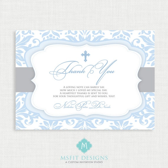 Printable Baptism Thank You Card - DIY Printable Thank you - Christening, First Communion, Dedication, Baby Blessing - Blue - Demask