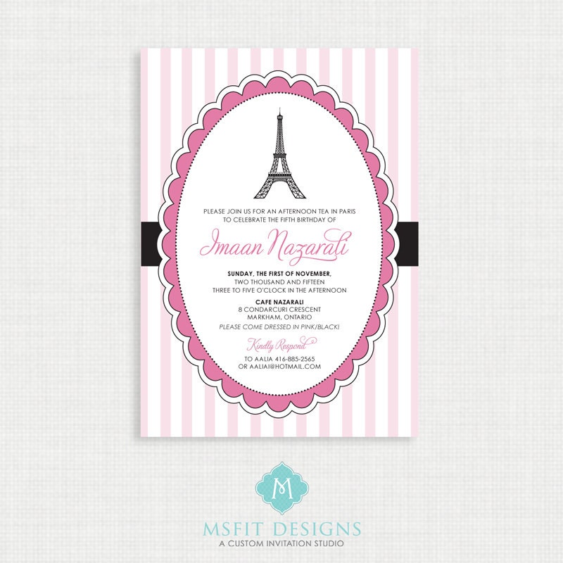Paris Birthday Invitation Party Eiffel Tower Themed