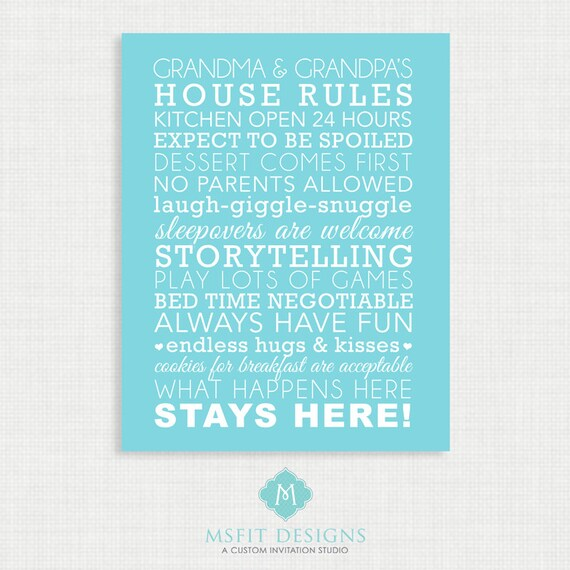 Grandparent Gift - Grandparent House Rules - Subway Style - Wall art 11x14