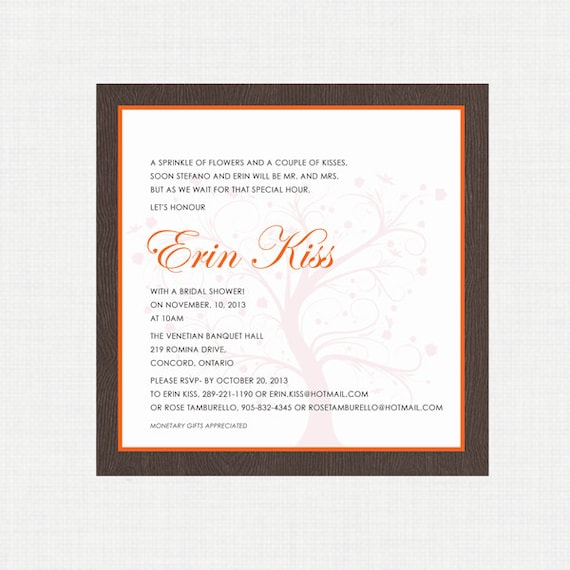 Printable Wedding Shower Invitation- Fall Shower Invitation - Autumn Wedding - Digital Invitation - Printable Invitation
