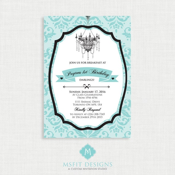 Breakfast Bridal Shower Invitation - Chic Shower invitation, Printable, Blue and Black demask