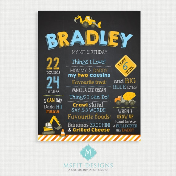 First Birthday Chalkboard Sign -11x14 Construction Birthday Chalkboard Poster - Custom Birthday Sign