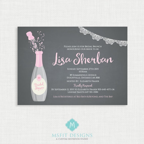 Printable Wedding Shower Invitation- Champagne Bridal Shower -  Bridal Shower  - Chalkboard Invitation