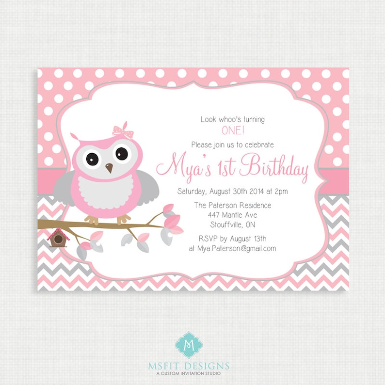Printable Birthday Invitation Owl Girl