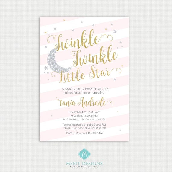 Twinkle Twinkle Little Star Baby Shower Invitations - Twinkle invitation- Party invite - Little Star Shower - Printable digital DIY