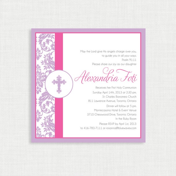 Printable Baptism Invitation- Damask Girl Baptism Invitation - First Communion- Christening Invite - Confirmation Invitation