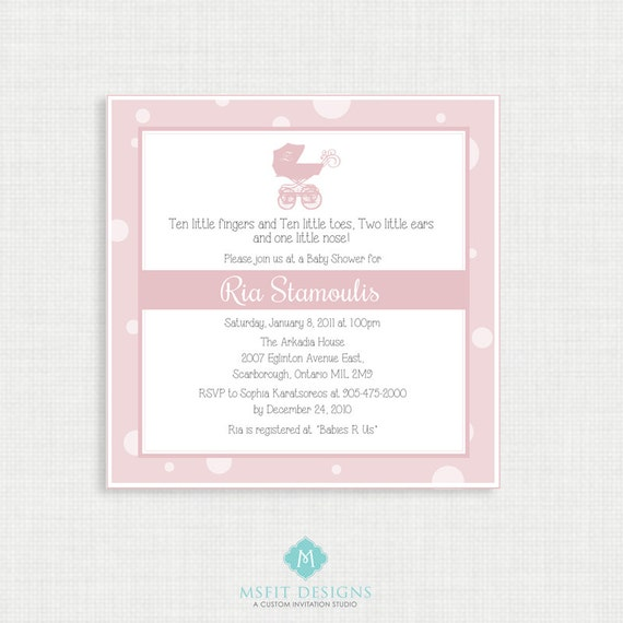 Printable Baby Shower Invitation- Girl Baby Shower Invitation - Modern, Pink, Pram, Polka Dots, Printable Template