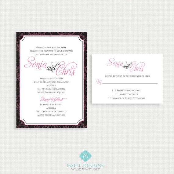 Printable Wedding Invitation - Classic and elegant wedding invitation with RSVP- printable file - DIY printable wedding invitation -