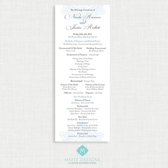 Printable Wedding Program - ALL COLORS Available - You Print - Digital File - floral