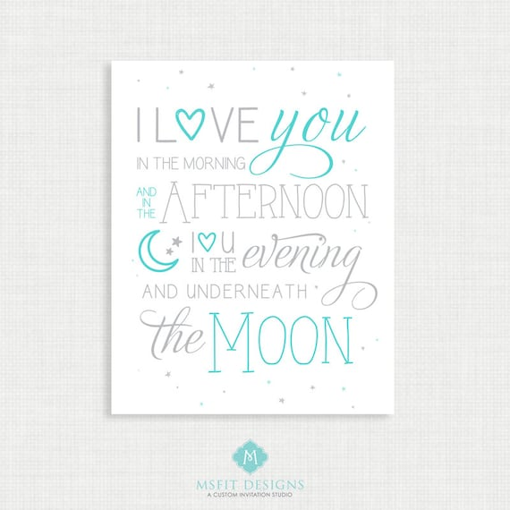 Nursery Wall Decor - Wall Art- I Love You to the Moon and Back - Nursery Art - Wall Decor  - instant Digital Download