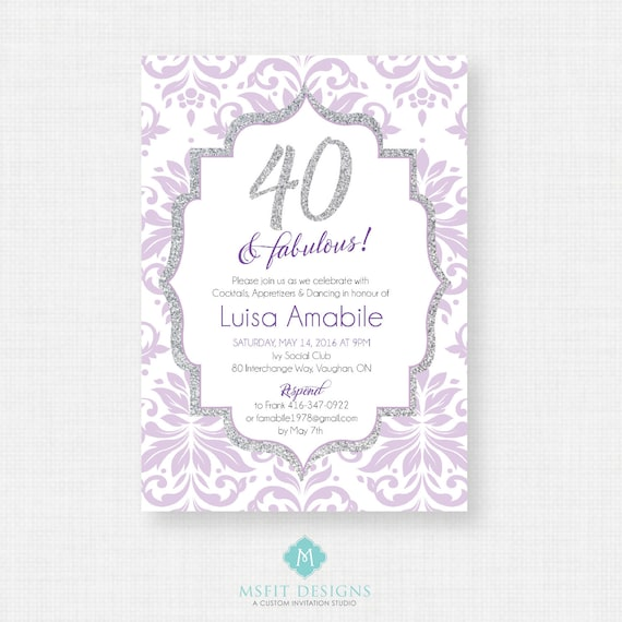 40 and Fabulous - 40th birthday invitation- Party invite. Adult Surprise Birthday. Elegant. Printable digital DIY