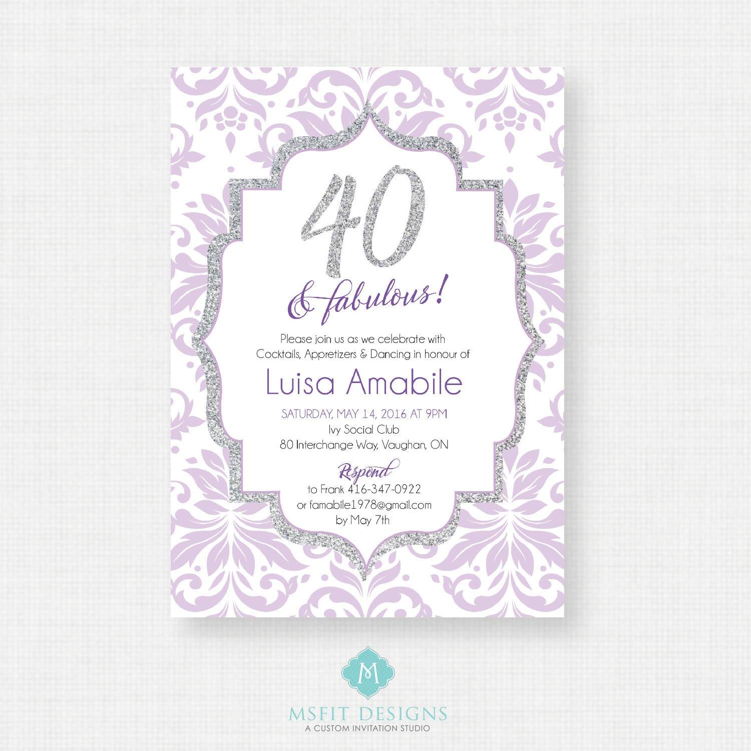 40 and Fabulous - 40th birthday invitation- Party invite. Adult ...