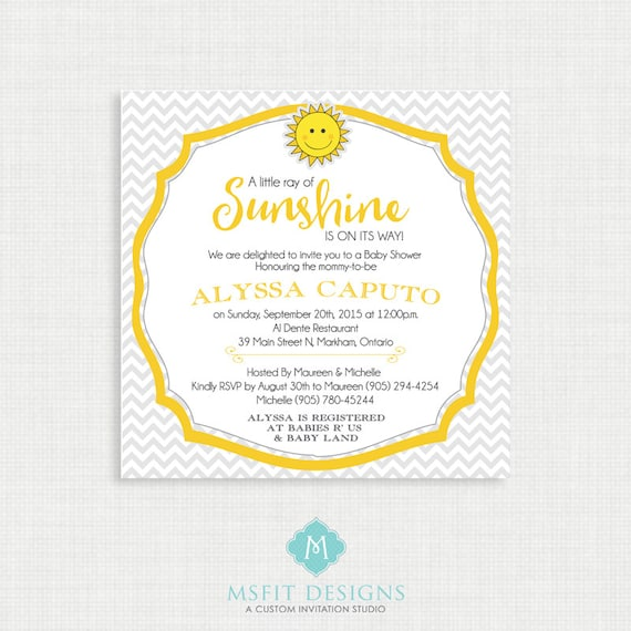 Printable Baby Shower Invitation-Chevron Baby Shower Invitation, Gender Neutral Baby Shower Invitation - Sunshine Invitation