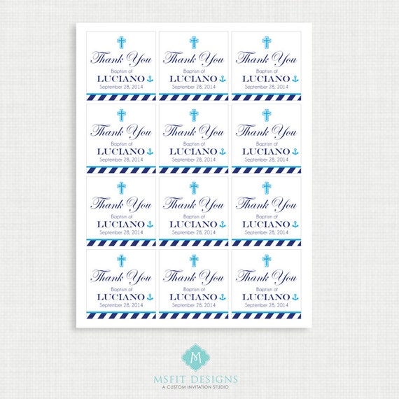Printable Baptism Favor Tags - Nautical Favor Tags - Thank You Tags - Christening - Party Tags- Digital Printable - Anchor