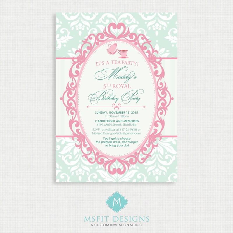 Tea Party Birthday Invitation- Tea Party Birthday Printable ...