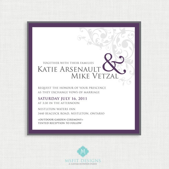 Printable Wedding Invitation - Ampersand Wedding Invitation with RSVP Card. Wedding Invitation, Invitation Sets,  DIY