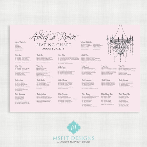 Printable Seating Chart - Wedding Seating Chart- Chandelier - Pink
