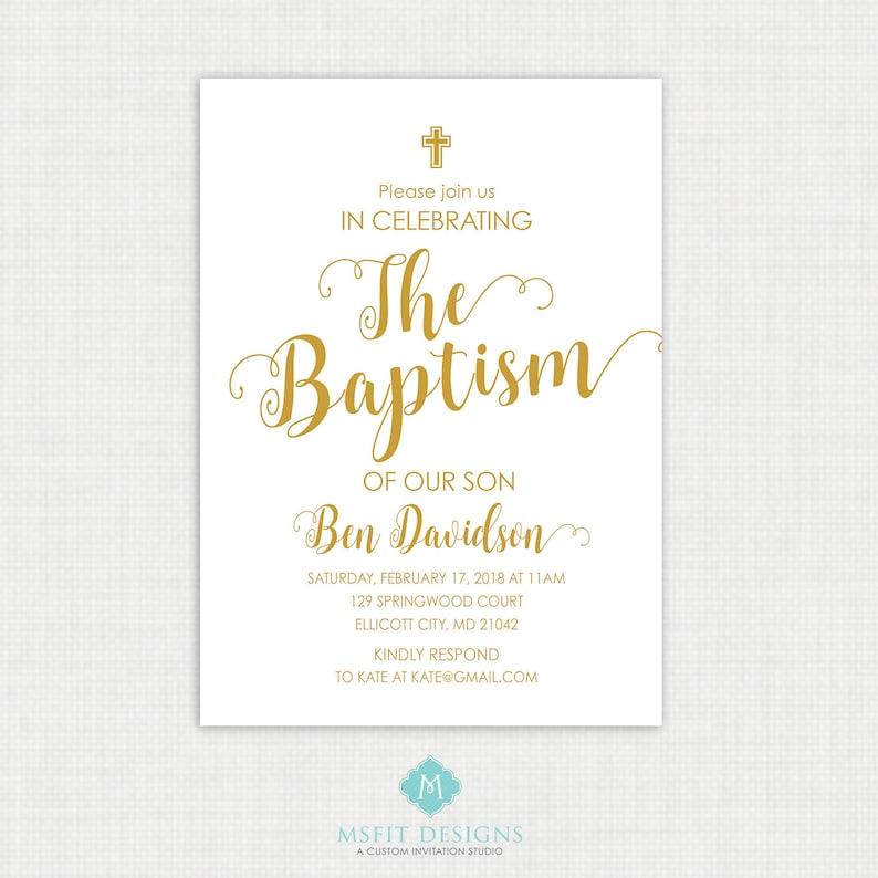 Christening First Communion Boy Baptism Invitation Printable Communion Invitation- Watercolor Baby Dedication Confirmation