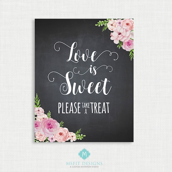 Love is Sweet Sign, Love is Sweet Take a Treat Sign, Love is Sweet Wedding Sign, Printable Love is Sweet Sign, Love is Sweet Instant 8x10