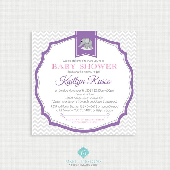 Printable Baby Shower Invitation- Girl Baby Shower Invitation, Chevron Gray and Pink, Digital, Printable Template DIY
