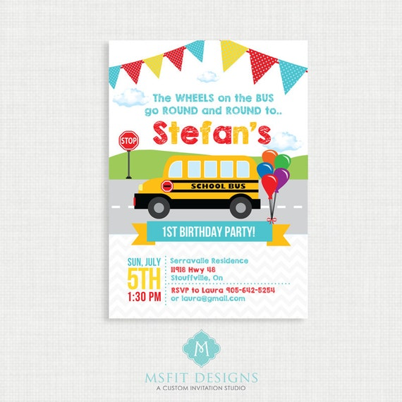 Printable Birthday Invitation- Wheels on the Bus Birthday Invitation, Bus Birthday Party Invitations, DIY,  Printable Template