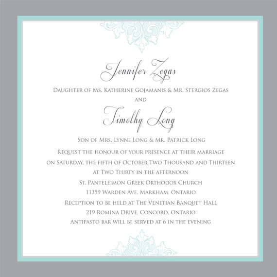 Printable Wedding Invitation - Wedding invitation template- Teal Blue and Grey with RSVP Card- Printable Wedding invitations