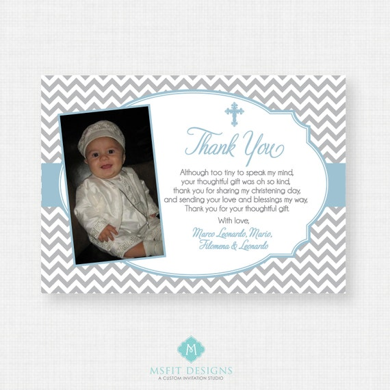Printable Baptism Thank You Card - DIY Printable Thank you - Christening, First Communion, Dedication, Baby Blessing - Blue - Chevron