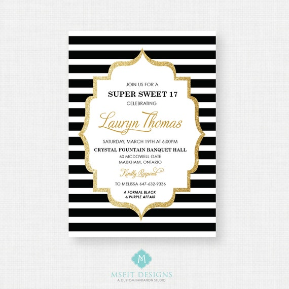 Sweet Sixteen Invitation, Sweet 16 Invitation, 16th birthday invitation, Girls Birthday Party Invitations, Birthday Invitation for a Girl