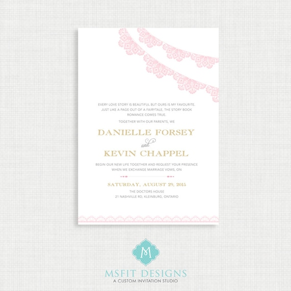 Printable wedding invitation- RSVP Card Included- Blush and Gold - Bunting